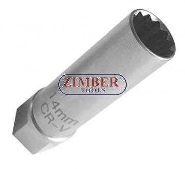 "BMW Thin Wall Spark Plug Socket -3/8""Drive, 14mm, 12 points. ZR-36SPSWS3814 - ZIMBER-TOOLS."