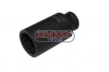 """Shaft Deep Air Impact Socket 30mm 1/2""""Dr. - 12PT, ZR-08DAIS430M - ZIMBER TOOLS"""
