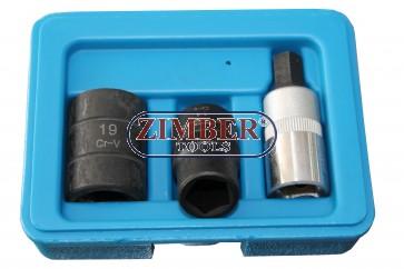 Pentagon Socket & Bit Set 3pc - 10-mm, 14-mm, 19-mm, ZL-405P - ZIMBER TOOLS.