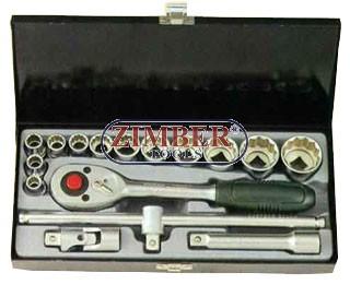 "1/2"" Socket set SAE 16pc, (4162) - FORCE"