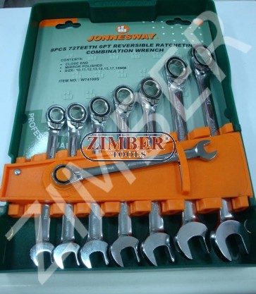 Reversible gear wrenches set, 72 teeth ratcheting, 8pcs. - (W74108S) - JONNESWAY