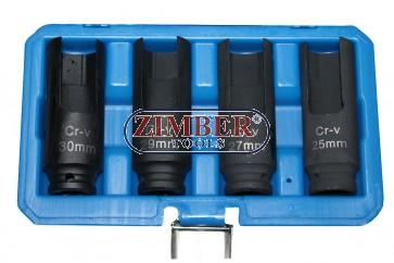 Injector Socket Set  25 mm - 27 mm - 29 mm and 30 mm.4 pcs - ZT-04A3066 - SMANN TOOLS.