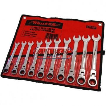 Flex Head Ratcheting Wrench Set 10 Pc,3229 - NEILSEN.