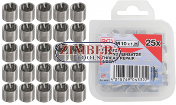 Replacement Thread Inserts M10 x 1.25 mm 25 pcs. (9428-1) - BGS technic