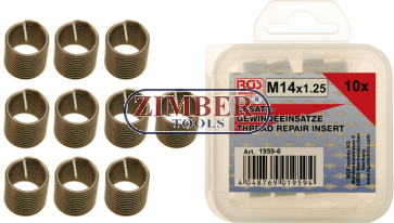 Replacement Thread Inserts M14 x 1.25 10 pcs. M14x1,25 (1959-6) - BGS technic