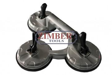 Тройна вендуза за захващане на стъкла и други плоски повърхности 100kg - ZR-36TSC - ZIMBER - TOOLS