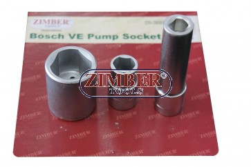 Bosch VE Pump Socket 3 piece Set. ZR-36BPSS - ZIMBER TOOLS