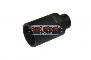 """38mm 1/2""""Dr. Shaft Deep Air Impact Socket - 12PT, ZR-08DAIS438M - ZIMBER TOOLS"""