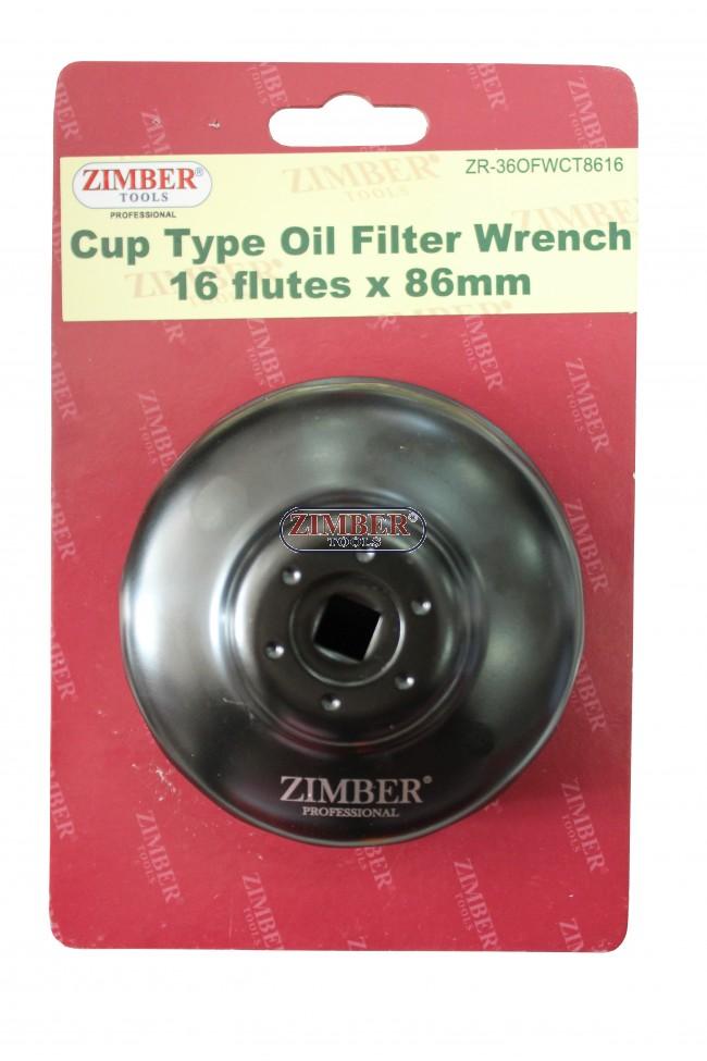 End Cap Oil Filter Wrench 16 flutes x 86mm Volvo S40 & S80 - BMW N40, N42,  N45, N46, N52- ZIMBER TOOLS