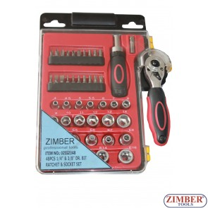 "Ratchet & socket set 6-poit and E-star socket 1/4"" и 3/8"" - 48pcs. - (ZR-02SS2348) - ZIMBER TOOLS"