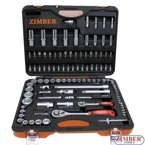 "108-piece Socket Set, 1/4"" + 1/2 - ZIMBER"
