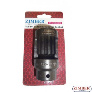 "Injector Socket 1/2""Dr. x 28mm, ZR-36IS2878 -ZIMBER TOOLS"