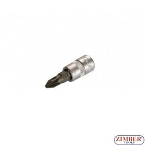 """1/4"""" Pozidriv socket bit 32mmL PZ.2, (ZB-2491) - BGS"""