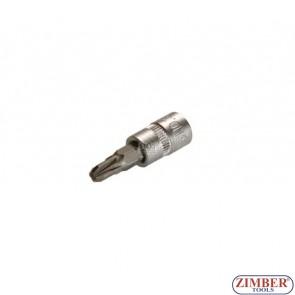 """1/4"""" Pozidriv socket bit 32mmL PZ3, (ZB-2492) - BGS"""