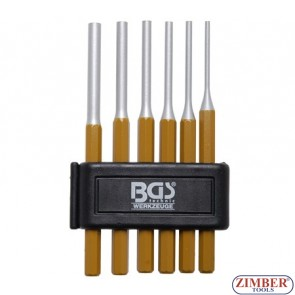 6-piece Parallel Pin Punch Set, 3-8 mm, 150 mm long- BGS