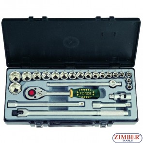 "1/2"" Socket set SAE 24pc, (4243S) - FORCE"
