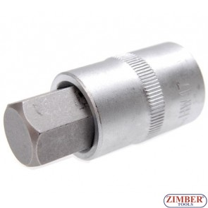 "1/2"" Bit Socket, Internal Hexagon, 53 mm long, 17 mm - BGS"