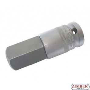 "1/2"" Bit Socket, Internal Hexagon, 70 mm long, 22 mm - BGS"