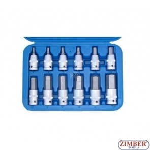 "12-piece Bit Socket Set Internal Hexagon, 1/2"" - BGS"
