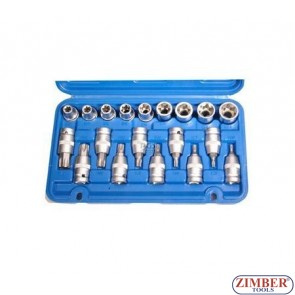 "19-piece Bit Socket Set, T-STAR / E-Type, 1/2"" - BGS"