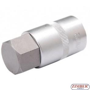 """Bit Socket   12.5 mm (1/2"""")   internal Hexagon 19 mm (5184-H19) - BGS technic"""