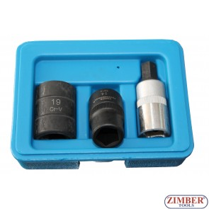 Pentagon Socket & Bit Set 3pc - 10-mm, 14-mm, 19-mm, ZL-405P - ZIMBER TOOLS.