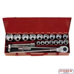 "3/4"" 6pt. socket set 20pc (6201-5) - FORCE"