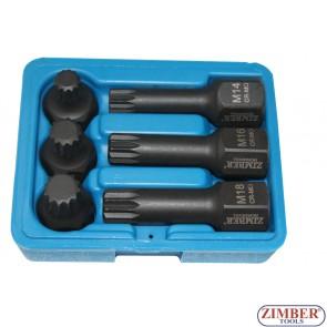"""1/2"""" Impact Bit Sockets, Spline - ZR-06ISS12H2406, ZIMBER TOOLS."""