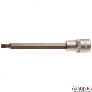 "Bit Socket | length 140 mm | 12.5 mm (1/2"") Drive | Spline (for RIBE) | M7 - 4234- BGS technic."