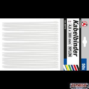 Cable Tie Assortment white 4.8 x 300 mm 50 pcs. (80772) - BGS technic