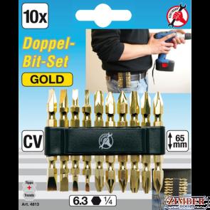 """Double Bit Set """"gold"""" 6.3 mm 1/4"""" Drive 10 pcs. (4813) - BGS technic"""