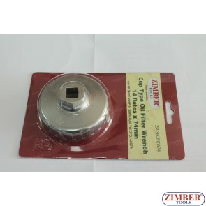 End Cap Oil Filter Wrench, 74 mm x 14- (BENZ,BMW,AUDI,VW,OPEL) ZR-36OFCW74-ZIMBER TOOLS