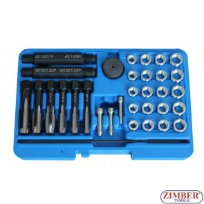 GLOW PLUG THREAD REPAIR TOOL KIT 33 PIECES 8mm, 10mm, 12mm ,14 mm- ZR-36GPTRS33 - ZIMBER TOOLS.