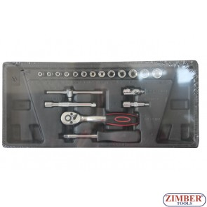 "Socket Combination set 19 pc 1/4"", ZT-00819 - SMANN TOOLS."