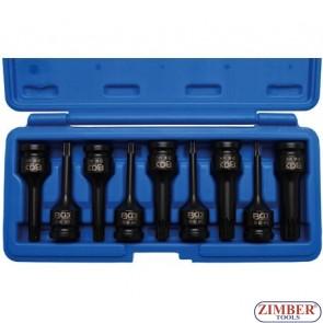 "Impact Bit Socket Set   12.5 mm (1/2"") Drive   Spline (for XZN) M4 - M5 - M6 - M8 - M9 - M10 - M12 - M14 - M16- 9 pcs.(5482) - BGS technic."