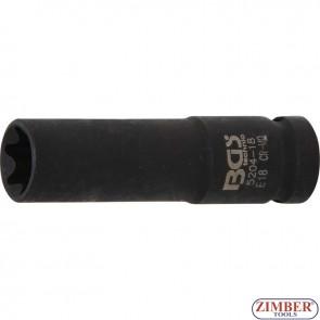 "Impact Socket E-Type, deep   12.5 mm (1/2"") Drive   E18 mm - 5204 -18 - BGS- technic."