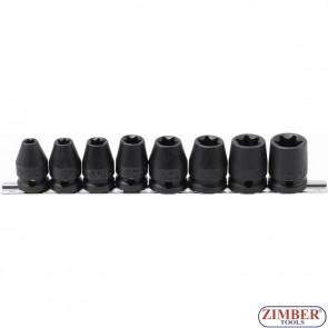 """Impact Socket Set E-Star   12.5 mm (1/2"""") Drive   E10 - E24 mm   8 pcs.- 9779 - BGS- technic."""
