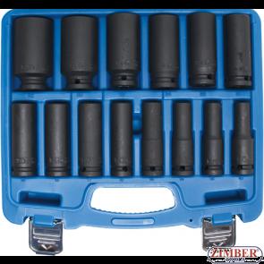 "Impact Socket Set, Hexagon, 12.5 mm (1/2"") drive, 10 - 32 mm. 14 pcs. 5207 - Bgs technic"