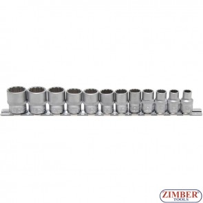 "Socket Set, 12-point | 10 mm (3/8"") Drive | 8 - 19 mm | 12 pcs. - ZB-9105 - BGS - technic."