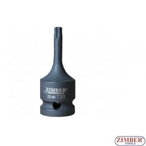 """Impact Bit Socket, 60mm, 1/2""""- T30 - ZR-08IBS4T30 - ZIMBER TOOLS"""