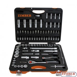 "108-piece Socket Set, 1/4"" + 1/2, - ZIMBER-TOOLS."