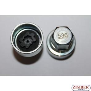 Security Master Locking Wheel Nut Key Vw, Skoda, Audi, Seat , Number 536- ZIMBER-TOOLS