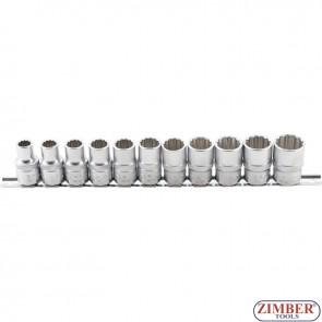 "Socket Set, 12-point | 12.5 mm (1/2"") Drive | 10 - 21 mm | 11 pcs. - ZB-9107 - BGS - technic."