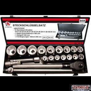 """Socket Set 20 mm (3/4"""") Drive 19-50 mm 20 pcs. (15113)- BGS technic - Kraftmann"""