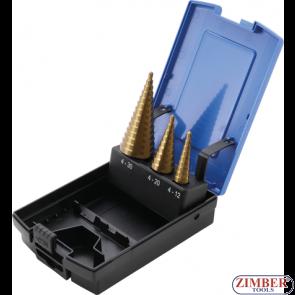 Step Drill Set   titanium-nitrided Ø 4 - 30 mm, 3 pcs. - 1624 - BGS- technic.