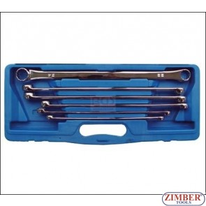 6-piece Flat Ring Spanner Set, extra long, 10x11-22x24 mm