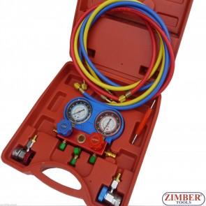 Σετ κάσα, μανόμετρα, σωλήνες για air condition αυτοκινήτου (A/C Air Conditioning) ZK-365 - SMANN TOOLS