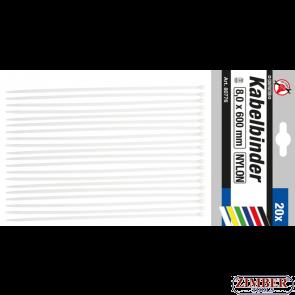 Cable Tie Assortment white 8.0 x 600 mm 20 pcs. (80776) - BGS technic