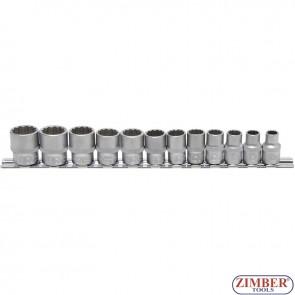 "Socket Set, 12-point   10 mm (3/8"") Drive   8 - 19 mm   12 pcs. - ZB-9105 - BGS - technic."