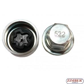 Locking Wheel Nut Key 522 B 17mm VW Golf Passat T4, Skoda -522- ZIMBER-PROFESSIONAL